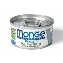 Консервы Monge Cat Monoprotein для взрослых кошек с курицей и горошком - 80 гр х 24 шт.