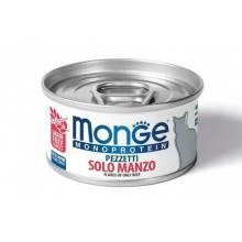 Monge Cat Monoprotein мясные хлопья для кошек из мяса говядины в консервах - 80 гр х 24 шт.