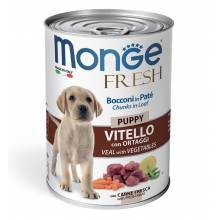 Monge Dog Fresh влажный корм для щенков с мясным рулетом из телятины и овощей в консервах - 400 г х 24 шт