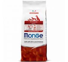 Monge Adult All Breeds Lamb, Rice & Potato сухой корм для собак всех пород (ягненок, рис и картофель) - 2,5 кг (12 кг)