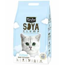 Kit Cat SoyaClump Soybean Litter Baby Powder соевый биоразлагаемый комкующийся наполнитель для котят с ароматом детской присыпки - 7 л (14 л)