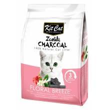 Kit Cat Zeolite Charcoal Floral Breeze цеолитовый комкующийся наполнитель с ароматом цветов - 4 кг