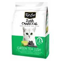Kit Cat Zeolite Charcoal Green Tea Lush цеолитовый комкующийся наполнитель с ароматом зеленого чая - 4 кг