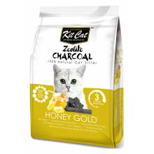 Kit Cat Zeolite Charcoal Honey Gold цеолитовый комкующийся наполнитель медовый с золотыми крупинками - 4 кг