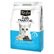 Kit Cat Zeolite Charcoal Ocean Wave цеолитовый комкующийся наполнитель с ароматом океанского бриза - 4 кг