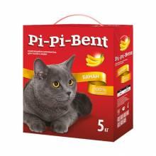 Pi-Pi-Bent Bananas комкующийся наполнитель для кошек из бентонита с легким ароматом спелого банана- 5 кг