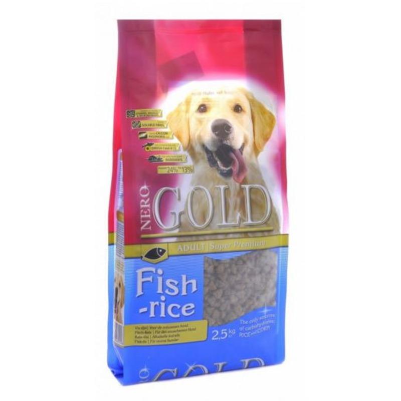 Nero Gold Adult Dog Fish & Rice сухой корм супер премиум класса для взрослых собак с рыбным коктейлем, рисом и овощами -12 кг