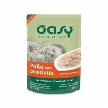 Oasy Wet cat Specialita Naturali Chicken Ham дополнительное питание для кошек с курицей и ветчиной в паучах - 70 г (70 г х 24 шт)