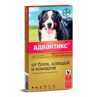Капли Адвантикс от блох, клещей и комаров для собак весом от 40 до 60 кг - 4 пипетки
