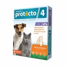 Neoterica Protecto капли от блох и клещей для кошек и собак весом от 4 до 10 кг, 2 пипетки