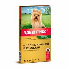 Капли Адвантикс от блох, клещей и комаров для щенков и собак весом от 1,5 до 4 кг - 4 пипетки