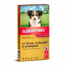 Капли Адвантикс от блох, клещей и комаров для собак весом от 10 до 25 кг - 4 пипетки
