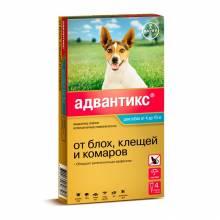 Капли Адвантикс от блох, клещей и комаров для собак весом от 4 до 10 кг - 4 пипетки