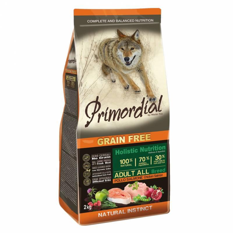 Primordial сухой беззерновой корм для взрослых собак с курицей и лососем 2 кг (12 кг)
