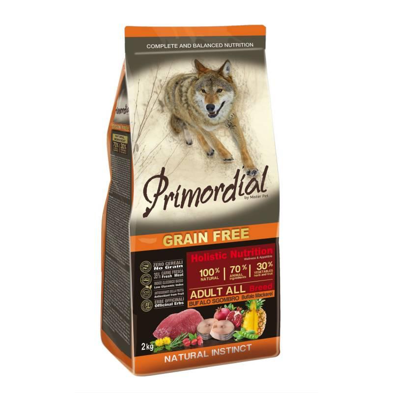 Primordial сухой беззерновой корм для взрослых собак с мясом буйвола и макрелью 2 кг (12 кг)