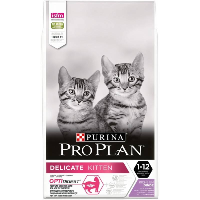 Purina Pro Plan Junior Delicate Сухой корм для котят с чувствительным пищеварением в возрасте от 6 недель до 1 года, с индейкой 3 кг (10 кг)