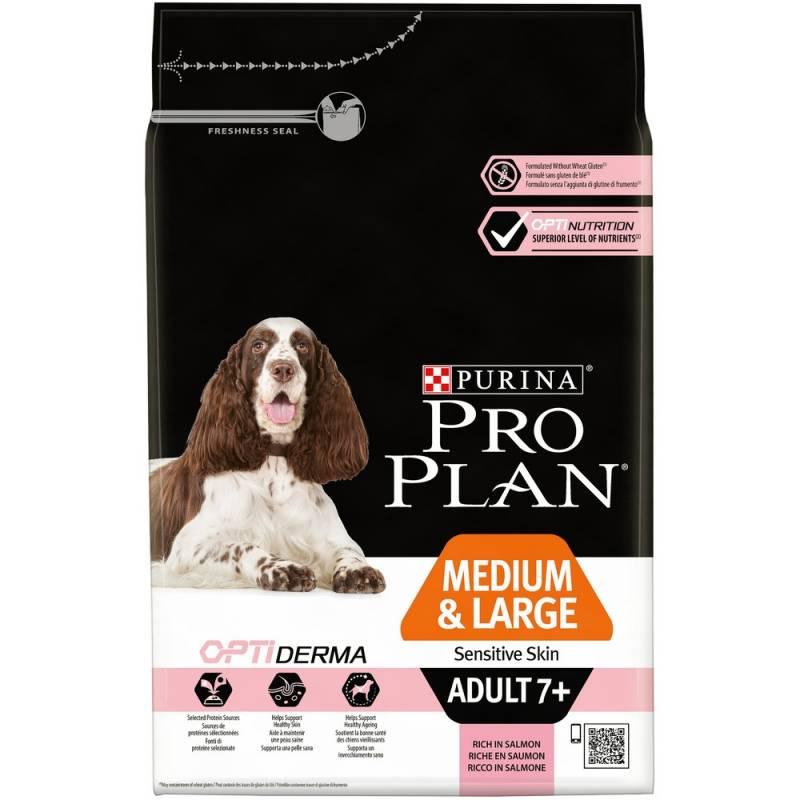 Pro Plan Medium & Large Adult 7+ Sensitive Skin - корм для собак средних и крупных пород старше 7 лет с чувствительной кожей с лососем и рисом 3 кг (14 кг)