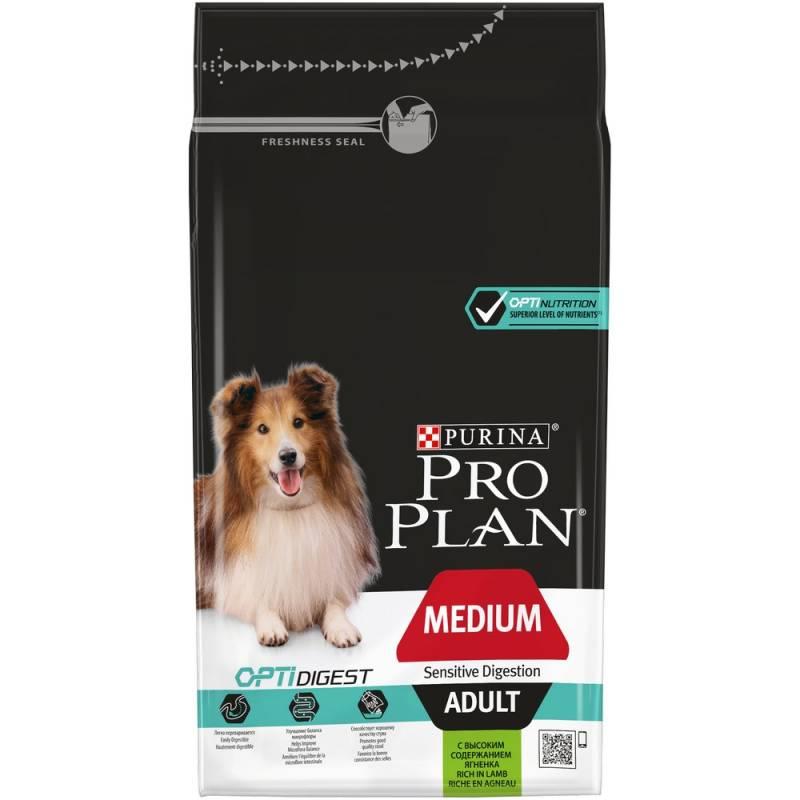 Pro Plan Medium Adult Sensitive Digestion Lamb Rice для взрослых собак средних пород с чувствительным пищеварением с ягненком и рисом 1,5 кг  (14 кг)