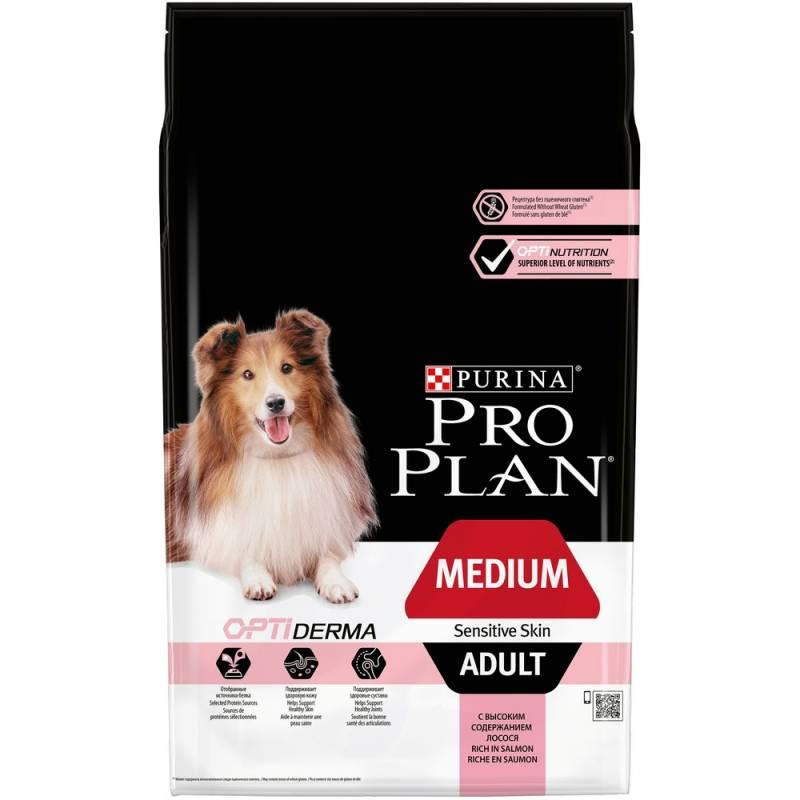 Pro Plan Medium Adult Sensitive Skin корм для собак средних пород с чувствительной кожей с лососем и рисом 7 кг (14 кг)