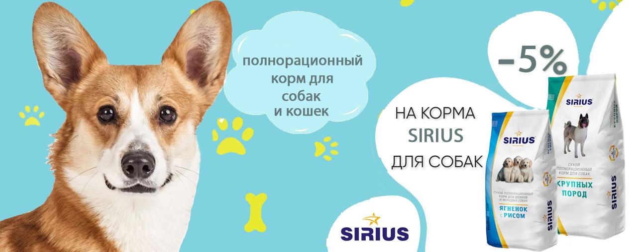 Скидка 5 % на корм для собак и кошек  SIRIUS