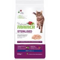 Сухой корм Natural Trainer Cat Sterilised Adult With White Meats And Pea Fibre с белым мясом и клетчаткой гороха для взрослых стерилизованных кошек - 1,5 кг