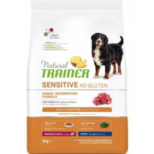 Trainer Natural Sensitive сухой корм для взрослых собак средних и крупных пород без глютена с ягненоком - 3 кг