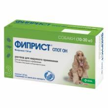 Фиприст Спот Он (KRKA) для собак 10-20 кг от блох, вшей, клещей и власоедов 3 шт