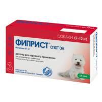 Фиприст Спот Он (KRKA) для собак 2-10 кг от блох, вшей, клещей и власоедов 3 шт