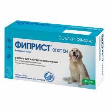 Фиприст Спот Он (KRKA) для собак 20-40 кг от блох, вшей, клещей и власоедов 3 шт
