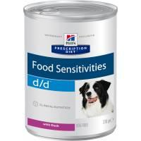 Hill's Prescription Diet d/d Food Sensitivities консервы для собак диета для поддержания здоровья кожи и при пищевой аллергии с уткой 370 гр х 12 шт.