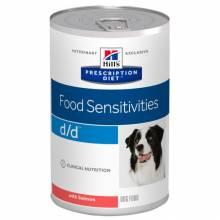 Hill's Prescription Diet d/d Food Sensitivities консервы для собак диета для поддержания здоровья кожи и при пищевой аллергии с лососем 370 гр х 12 шт.
