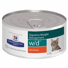 Hill's Prescription Diet w/d Digestive влажный диетический корм для кошек при поддержании веса и сахарном диабете, с курицей - 156 г х24 шт