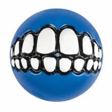 """Игрушка для собак ROGZ Grinz M мяч с принтом """"зубы"""" и отверстием для лакомства Синий - 64 мм"""