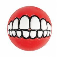"""Игрушка для собак ROGZ Grinz M мяч с принтом """"зубы"""" и отверстием для лакомства Красный - 64 мм"""