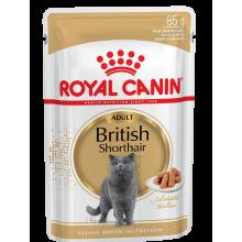 Royal Canin British Shorthair Adult влажный корм в паучах в соусе для британских короткошерстных кошек - 85 г х 12 шт