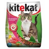 Kitekat сухой корм с телятиной для взрослых кошек - 15 кг