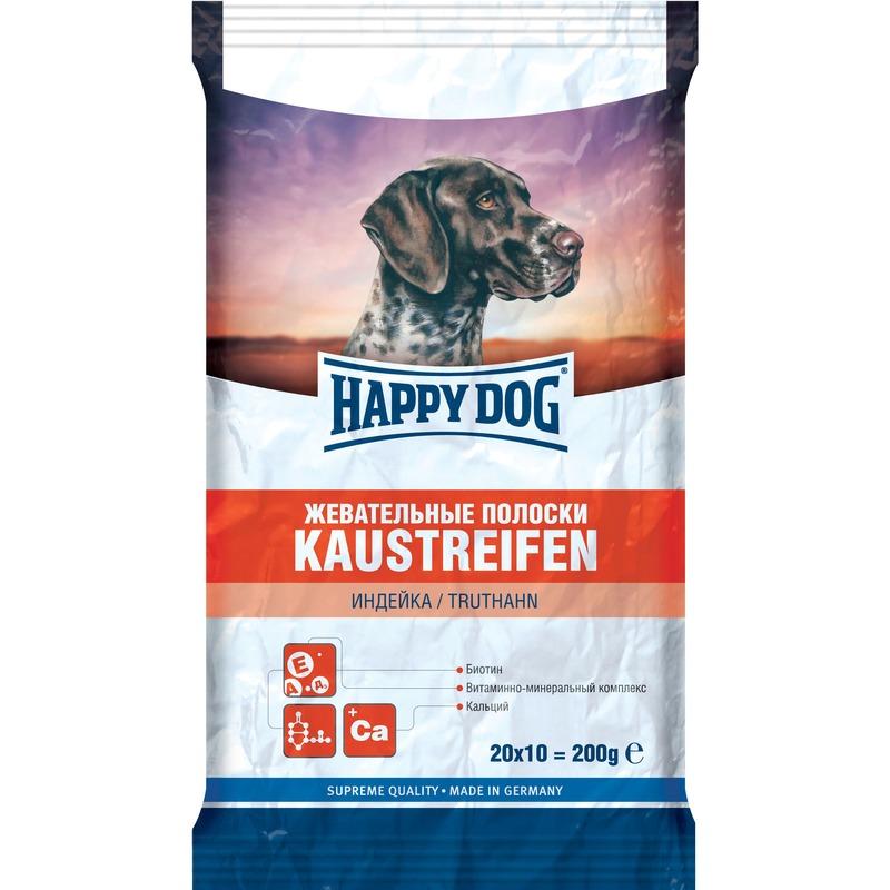 Лакомство Happy Dog Жевательные полоски с индейкой для взрослых собак всех пород - 200 г