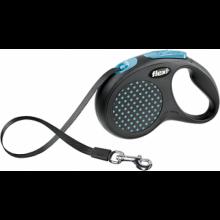 FLEXI рулетка Design S (до 15 кг) 5 м лента черная/голубой горошек