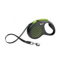 FLEXI рулетка Design S (до 15 кг) 5 м лента черный/зеленый горох